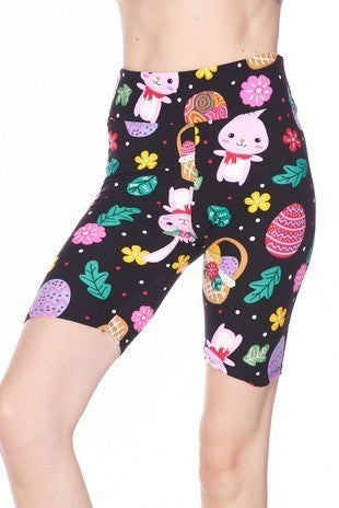 High Waist Easter Egg Bunny Brush Biker Short