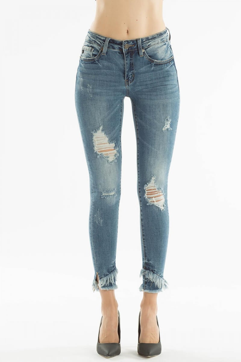 KANCAN GEMMA MID RISE ANKLE SKINNY - MEDIUM WASH