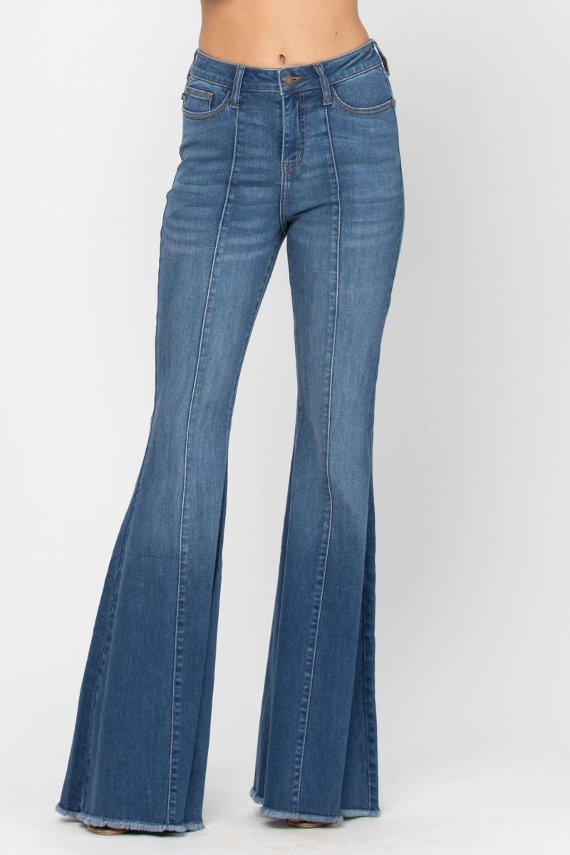 JUDY BLUE HIGH RISE FRONT AND BACK MID-SEAM FLARE