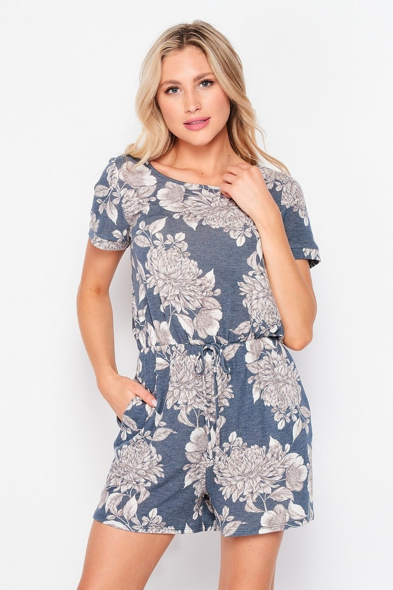 HONEYME FRENCH TERRY FLORAL ROMPER