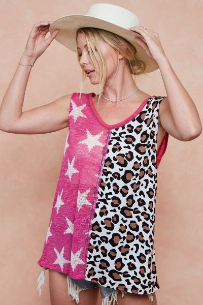 BIBI SLEEVELESS PRINT MIX FRONT TOP WITH CONTRAST