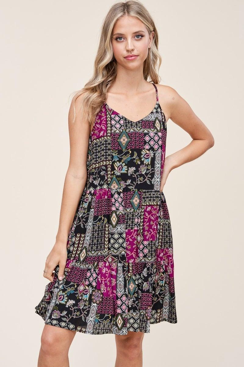PATCHWORK TIERED DRESS