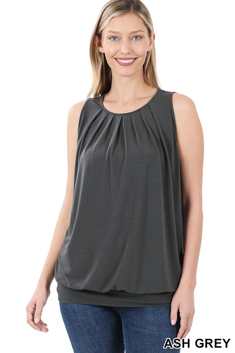 ROUND NECK PLEATED TOP WITH WAISTBAND