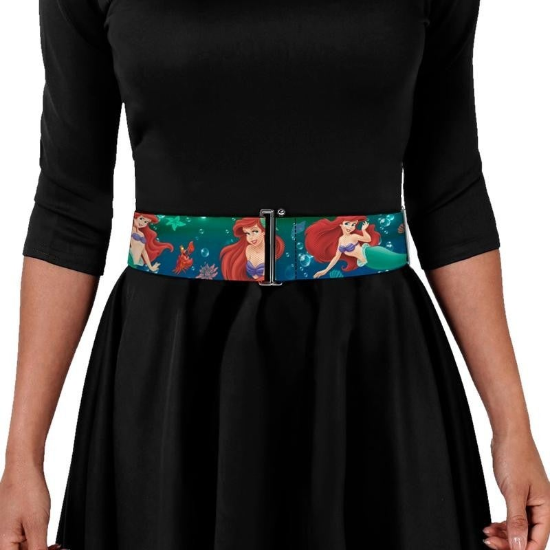 BUCKLE DOWN CINCH WAIST BELT - ARIEL POSES W FLOUNDER GREEN BLUE FADE