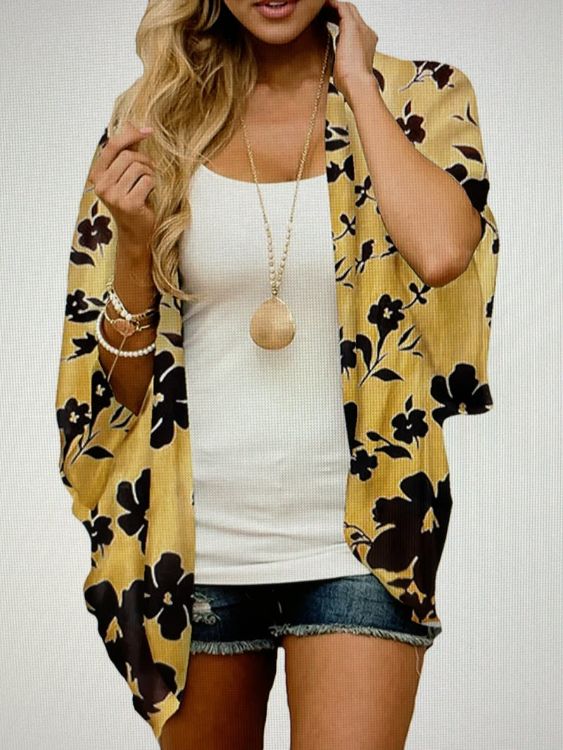 YELLOW FLORAL CHIFFON BEACH COVER UP