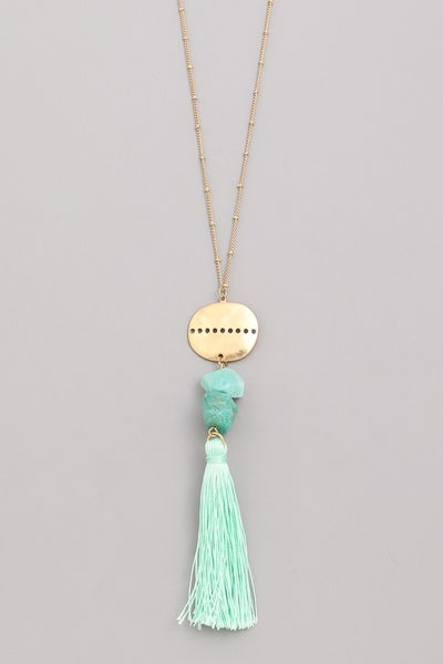 Tiered Metallic Coin Faux Stone Tassel Pendant Necklace