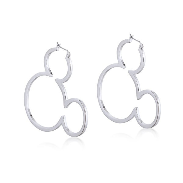 COUTURE KINGDOM Disney Mickey Mouse Outline Hoop Earrings - WHITE GOLD