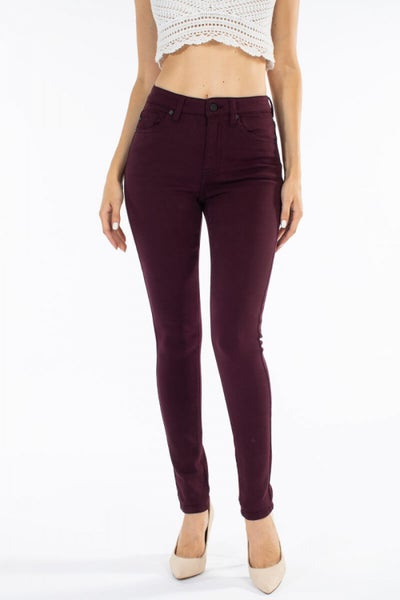 GEMMA HIGH RISE BURGUNDY R&B SKINNY DENIM