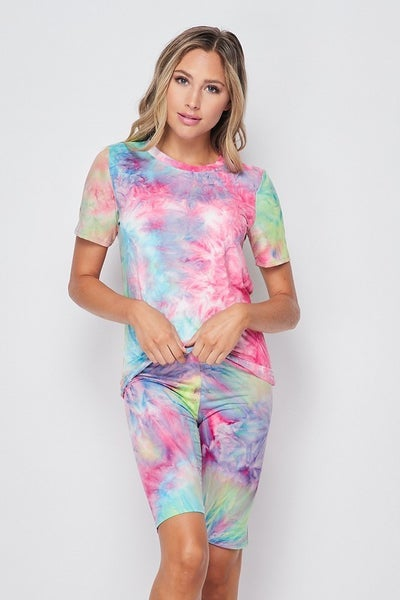 Tie Dye Brushed T Shirt / Biker Short Set