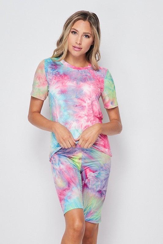 Tie Dye Brushed T Shirt / Biker Short Set