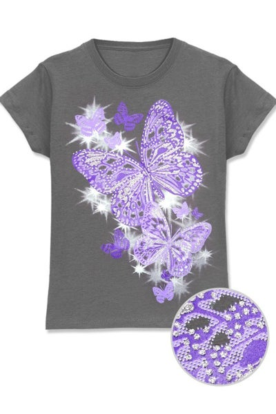irl's  Printed Tee w/ Purple Sparkle Butterfly