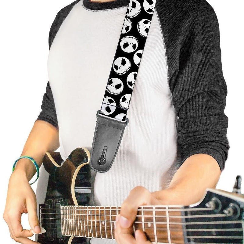 BUCKLE DOWN GUITAR STRAP - NIGHTMARE BEFORE CHRISTMAS JACK EXPRESSIONS SCATTERED BLACK WHITE