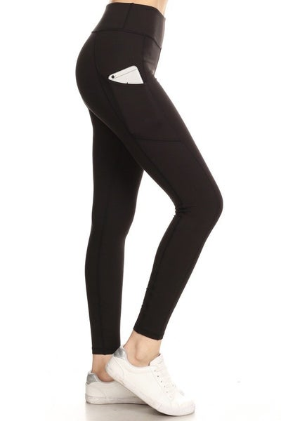 SOLID WORKOUT LEGGINGS WITH POCKETS