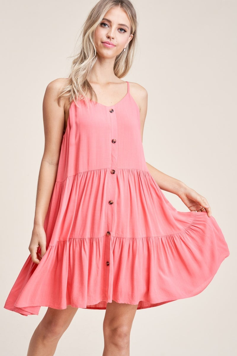 SOLID TIERED DRESS