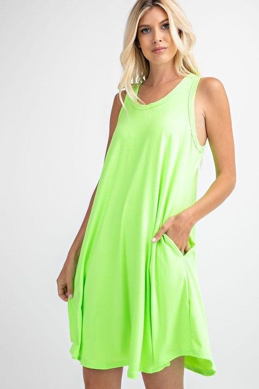 RAE MODE Sleeveless Neon Color Swing Dress