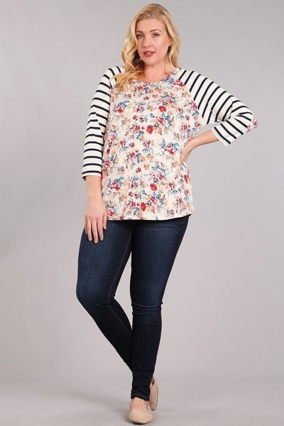FLORAL RAGLAN TOP WITH STRIPE PATCH SLEEVE