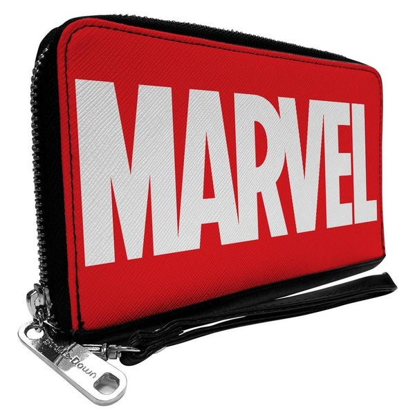 BUCKLE DOWN ZIP AROUND WALLET - MARVEL RED BRICK LOGO RED WHITE