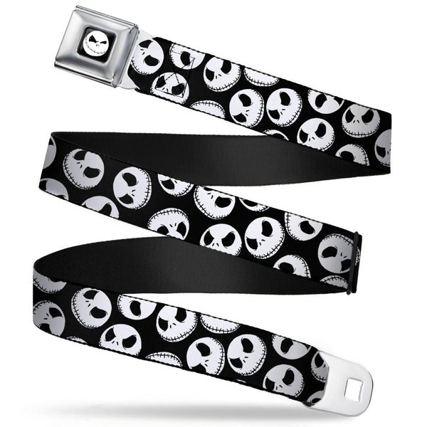 BUCKLE DOWN SEATBELT BELT - NBC JACK EXPRESSIONS SCATTERED BLACK/WHITE