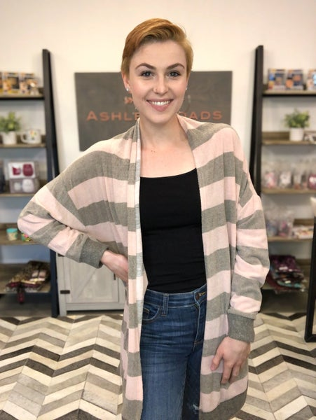 SIDE POCKETED STRIPED LONG SLEEVE CARDIGAN