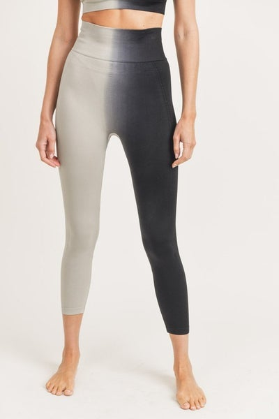 MONO B Side Ribbed Split Dye Seamless Highwaist Leggings