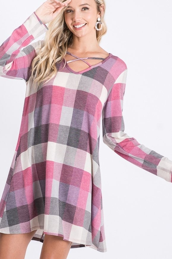 LONG SLEEVE CRISSCROSS V NECK MULTI COLOR PLAID PRINT DRESS