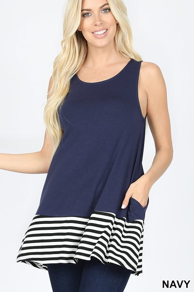 ZENANA STRIPED & SOLID CONTRAST SLEEVELESS TOP