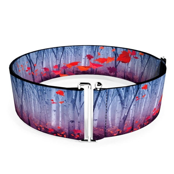 BUCKLE DOWN CINCH WAIST BELT - FROZEN II SWIRLING LEAVES TREES PURPLES REDS