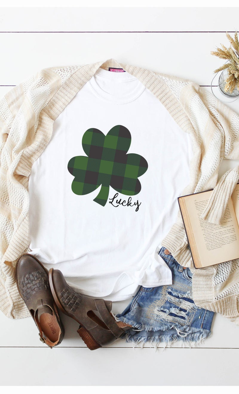 PLAID CLOVER LUCKY GRAPHIC TEE
