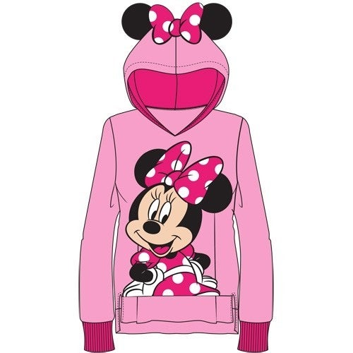 DISNEY Youth Sweet Minnie with Ears Pullover Hoodie, Pink