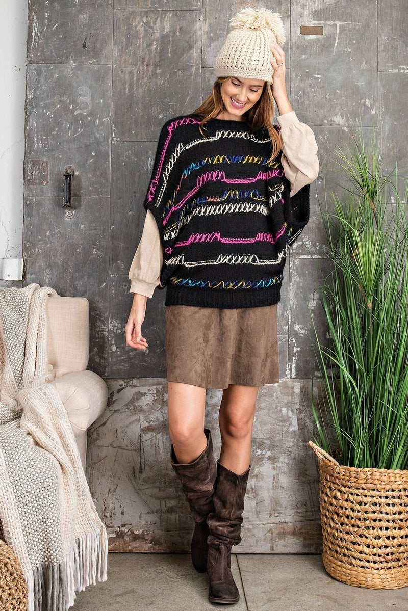 MULTI COLOR HEAVY KNIT SWEATER TOP