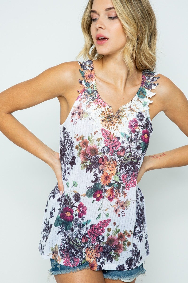 VOCAL FLORAL SLEEVELESS TOP