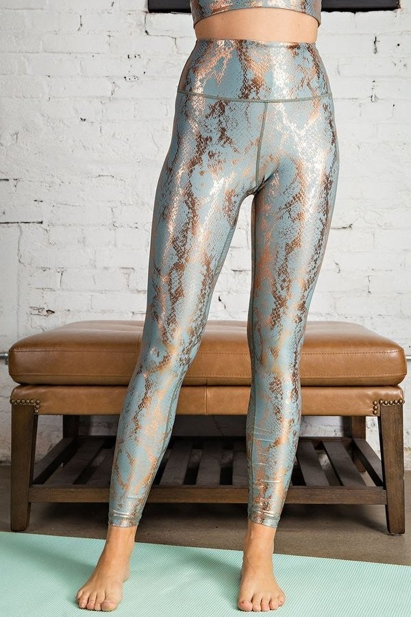 Snake Foil Printed Full Length Yoga Leggings