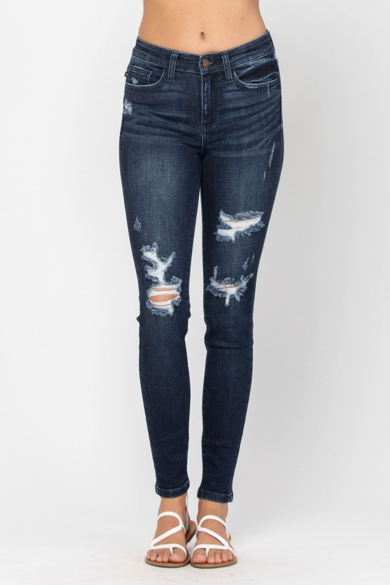 JUDY BLUE MID-RISE DESTROYED SKINNY