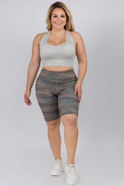 YELETE Active Cute in Camo High Rise Biker Shorts