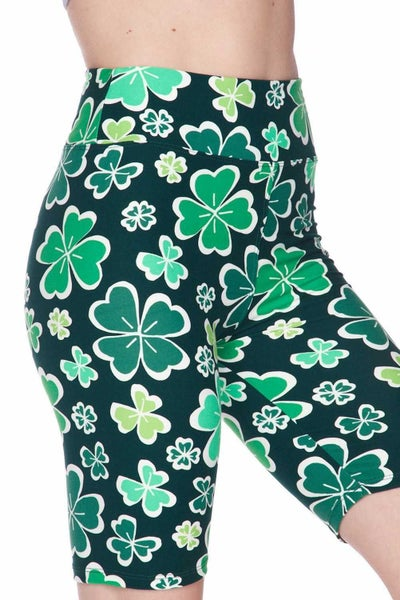 BUTTERY SOFT GREEN IRISH CLOVER BIKER SHORTS
