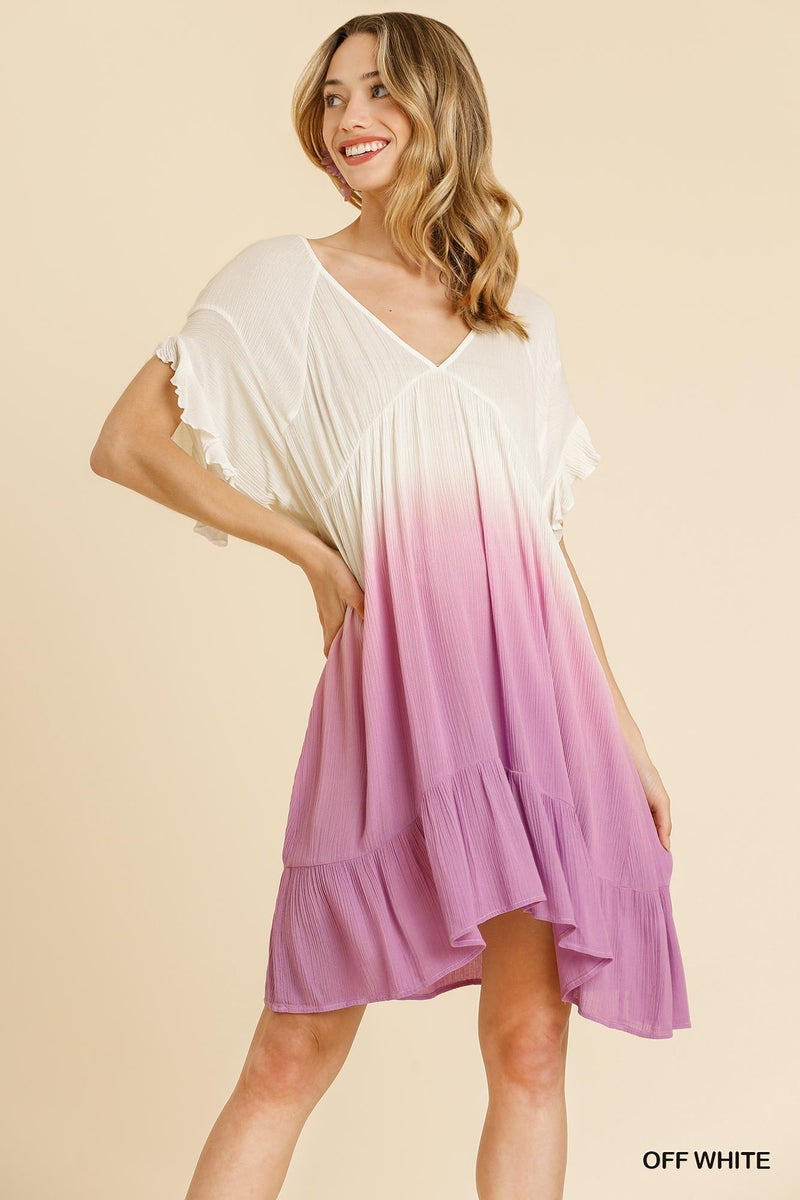 UMGEE Dip Dye V-Neck Short Ruffle Sleeve Dress
