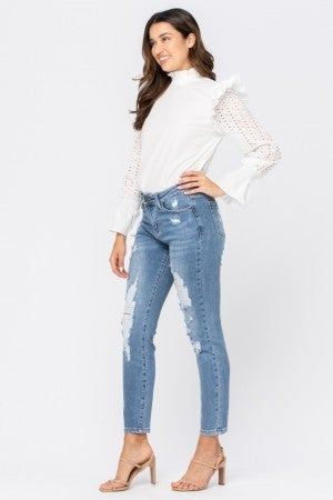 JUDY BLUE DESTROYED LARGE HOLES RELAXED JEANS