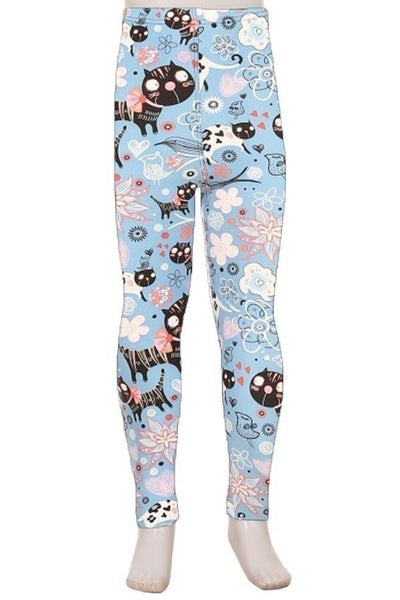 KID'S CAT AND FLORAL LEGGINGS