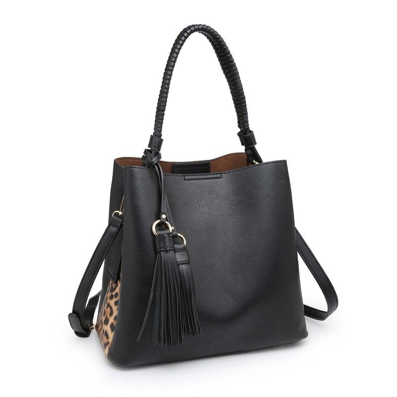 Olivia Animal Print Contrast Hobo Bag
