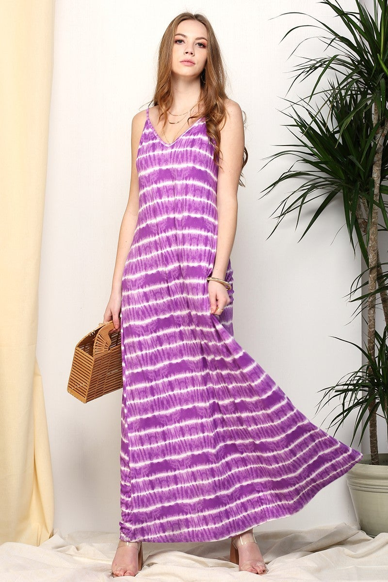 TIE DYE SPAGHETTI STRAP MAXI LONG DRESS