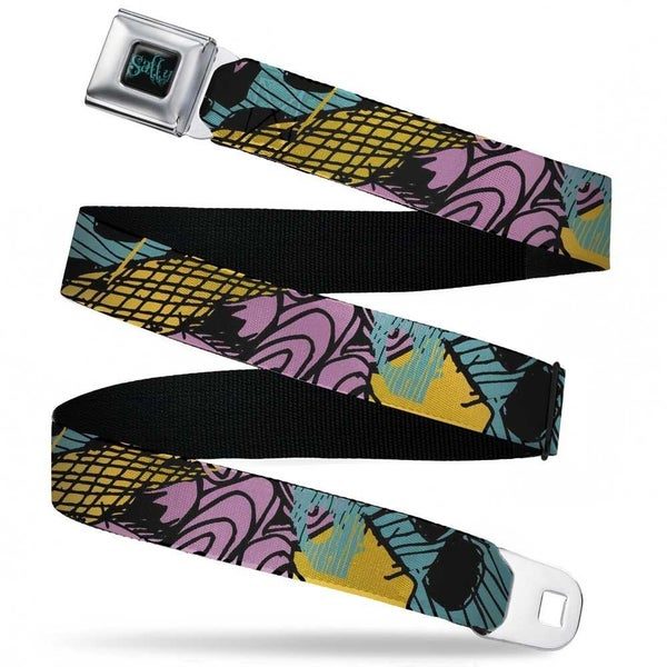 BUCKLE DOWN NIGHTMARE BEFORE CHRISTMAS SALLY BLACK/TEAL SEATBELT BELT