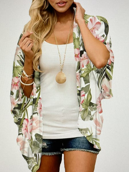 IVORY TROPICAL CHIFFON BEACH COVER UP