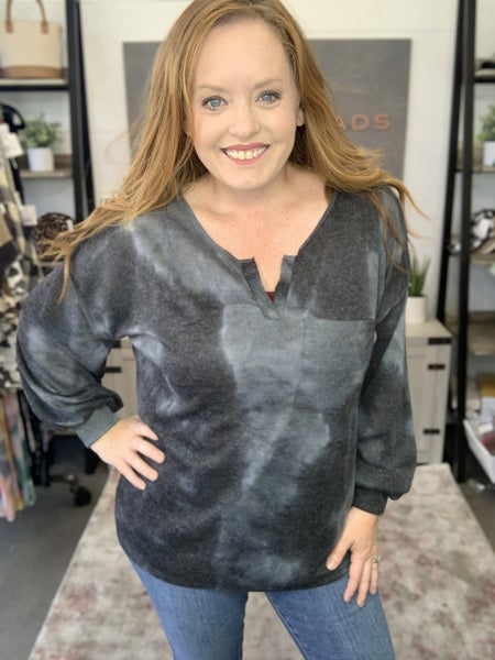 TIE DYE HACCI KNIT TOP WITH BUBBLE SLEEVES