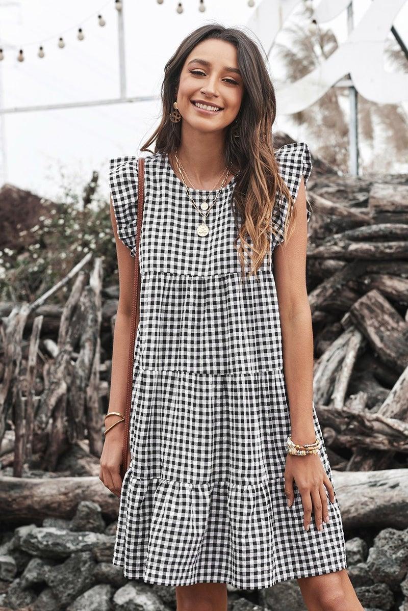 Black Plaid Ruffled Mini Dress