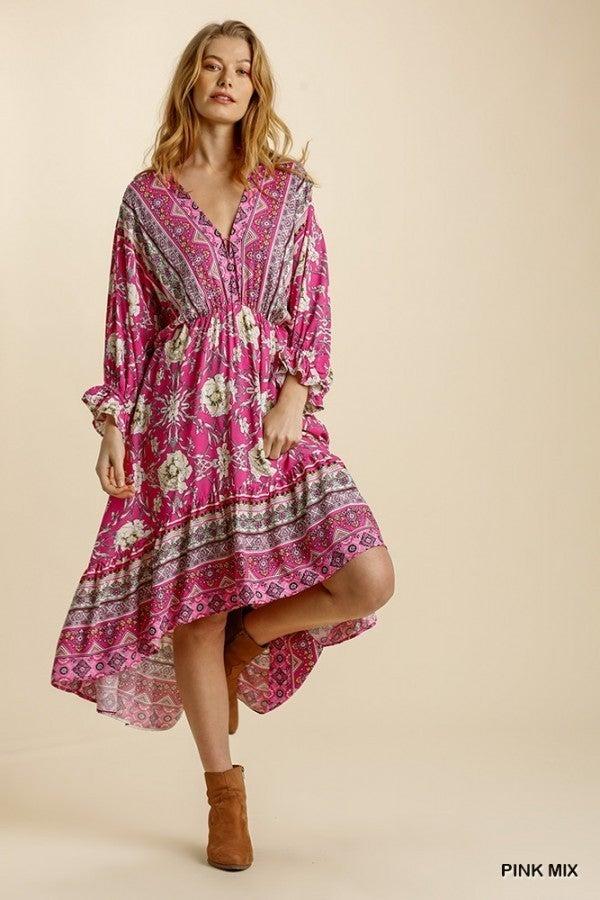 Mixed Print V-Neck Midi Dress with Elastic Waist High Low Ruffle Hem