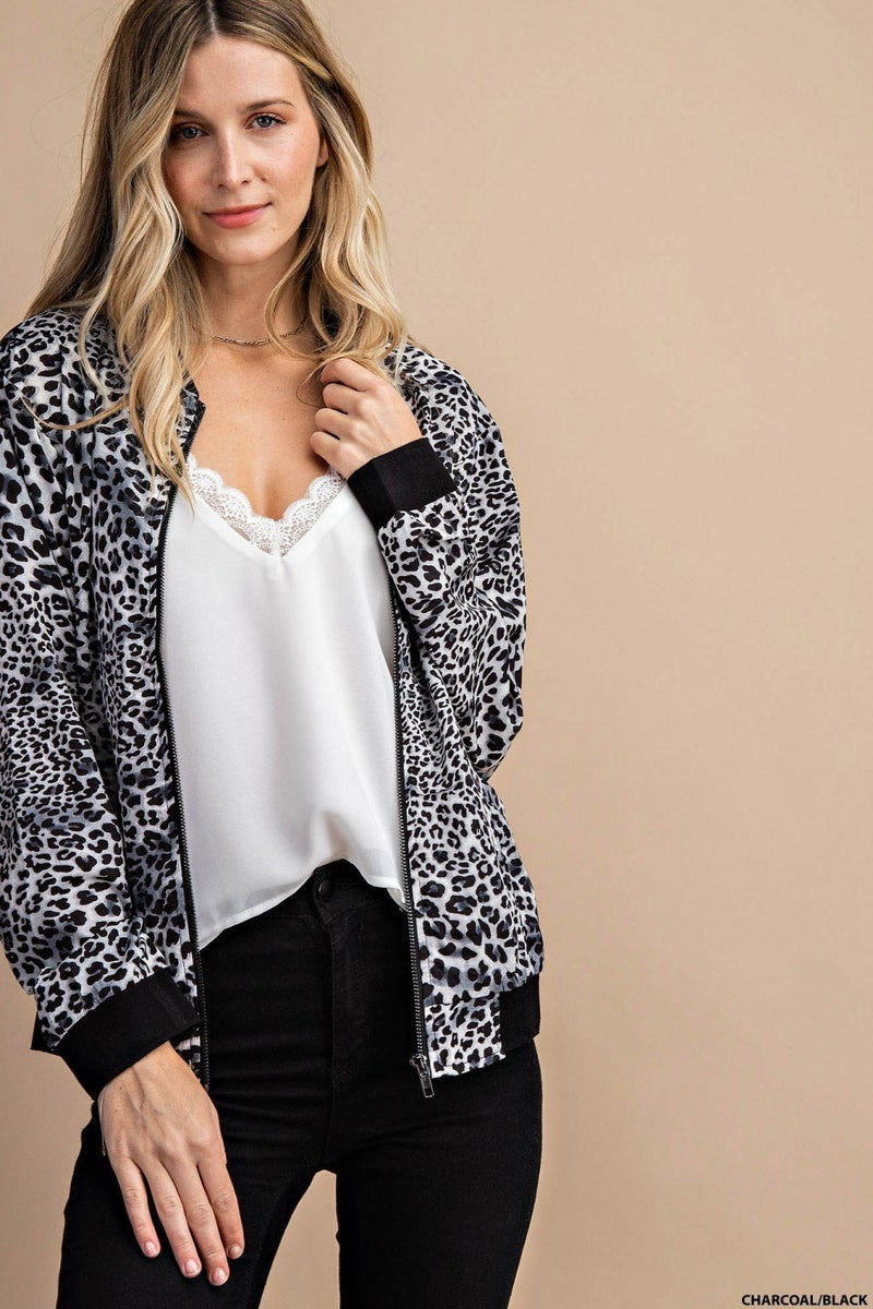 LEOPARD BOMBER JACKET WITH POCKETS