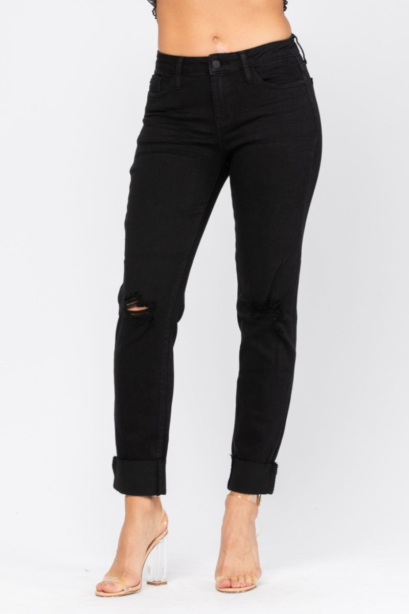 JUDY BLUE MID-RISE DESTROYED SLIM FIT