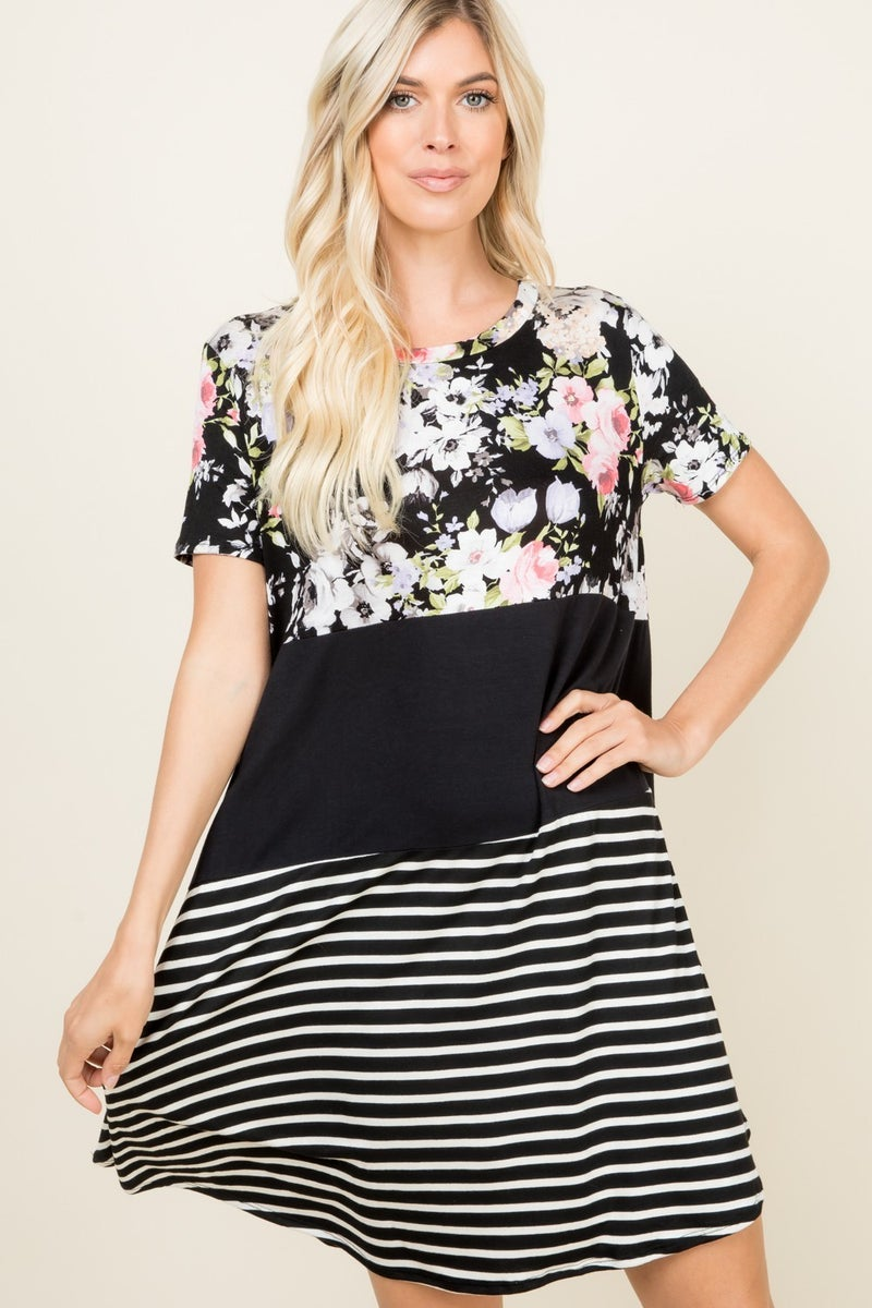 FLOWER, SOLID AND STRIPED BLOCK SHORT SLEEVE DRESS