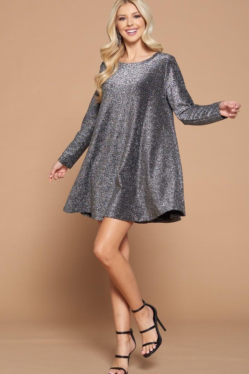 Metallic Shimmer Swing Dress