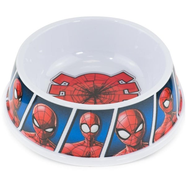 BUCKLE DOWN PET BOWL - SPIDER-MAN SHATTERED SPIDER + SPIDER-MAN EXPRESSION BLOCKS BLUES
